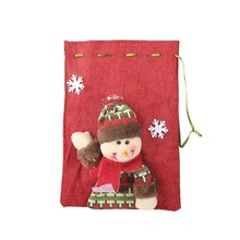 Christmas Festive Stocking Linen Cloth Gift Holders Bags Cartoon Drawstring Trea