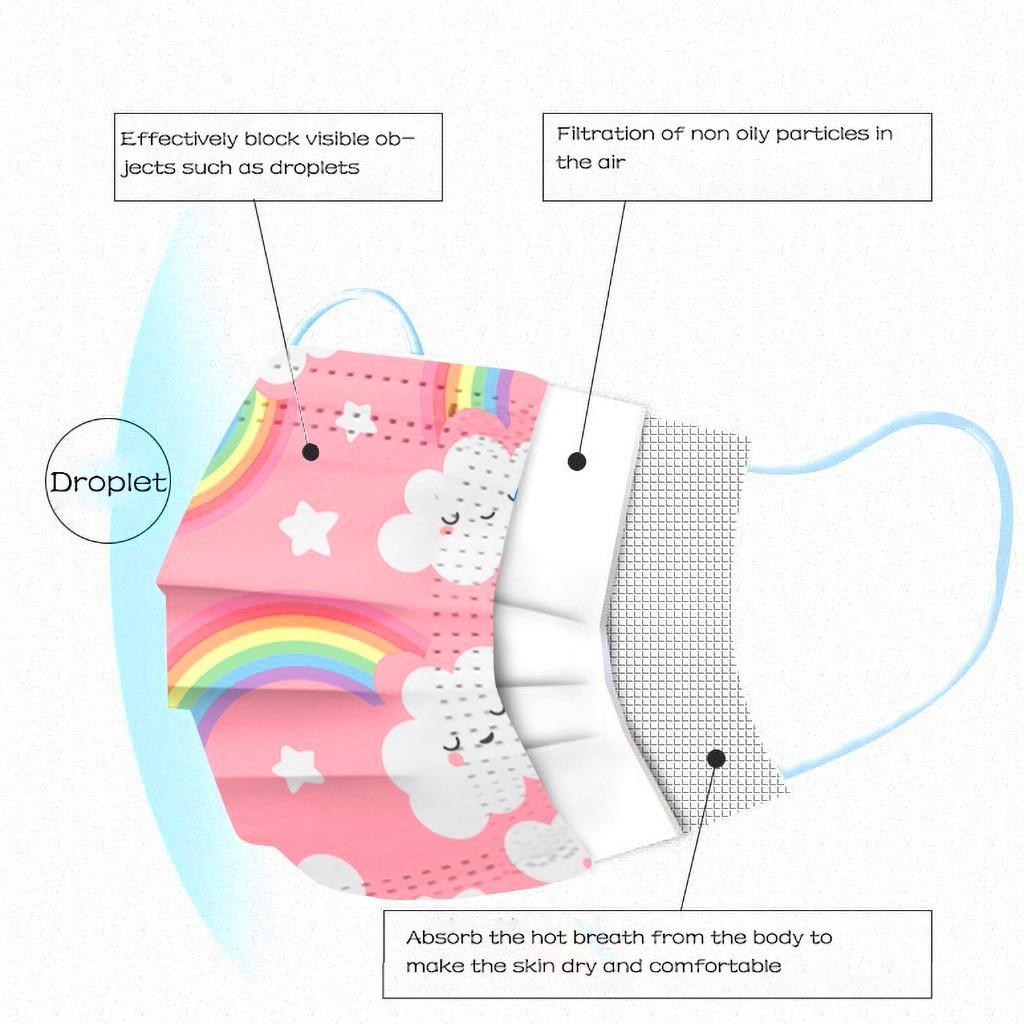 Masque arc-en-ciel jetable pour enfants - Lot de 100 Créer Son T Shirt