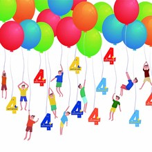 20pcs DIY Birthday Balloon String Decorations 1st 2nd 3rd 4th 5th Kids Baby Rainbow Party Supplies Puppy Kitten