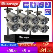 Techage H.265 8CH 3MP bezprzewodowy System kamer wideo nagrywanie dźwięku na zewnątrz Wifi kamera IP P2P kamery monitoringu bezpieczeństwa CCTV zestaw monitoringu NVR
