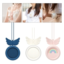 Portable Cute Angel Wing Neck Hanging Mini Air Cooler Fan Small Personal Cooling Tools for Home Office Outdoor Travel