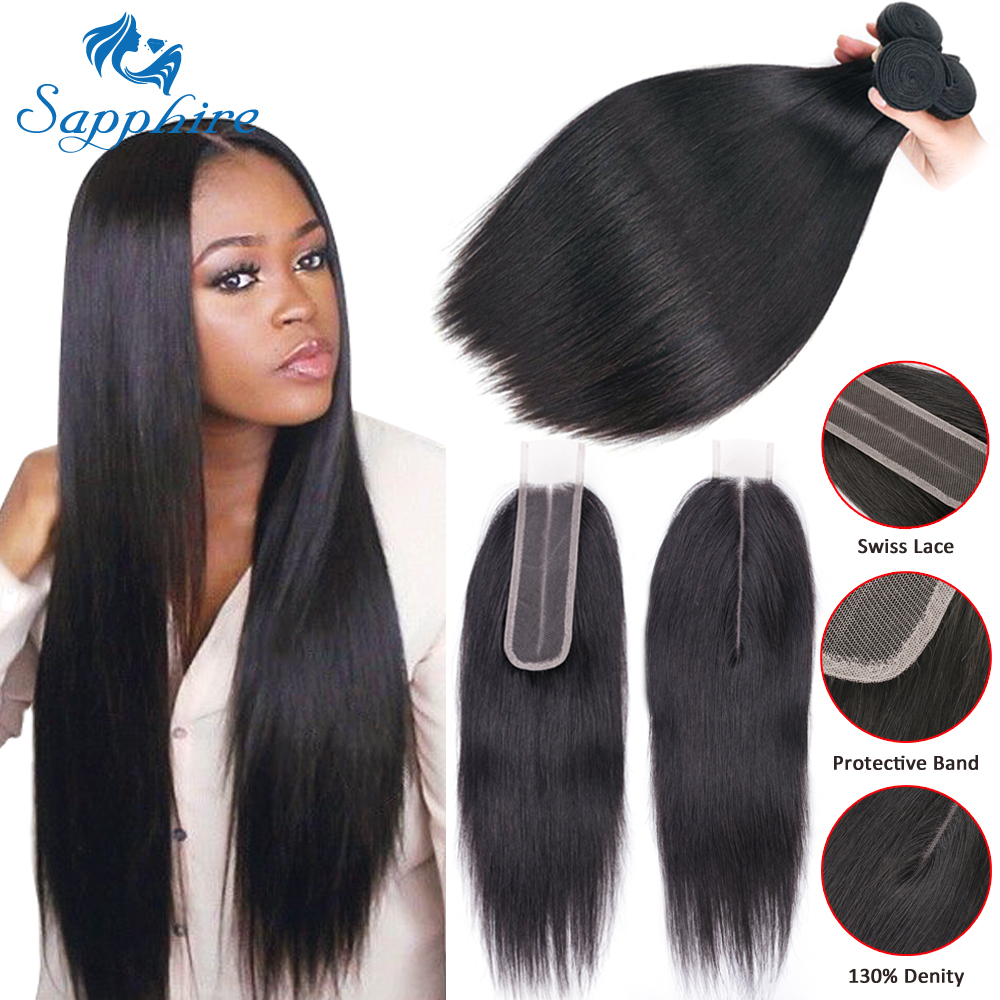 Sapphire Straight Hair Extensions Brazilian Hair Weave Bundles With Closure Human Hair Bundles With 2*6 Lace Closure Middle Part