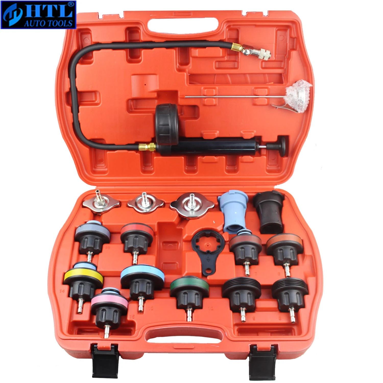 18pcs Universal radiateur pression testeur Kit vide-type de syst/ème de refroidissement de leau voiture de d/étection de fuite du r/éservoir Outil Noir