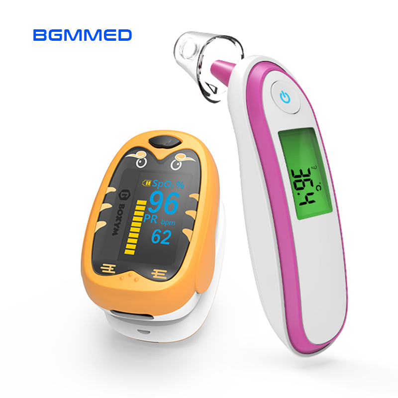 Medical Baby Fever Thermometer Infrared Finger Pulse Oximeter Spo2 PR Monitor kids Pediatric oximetro Saturation Meter