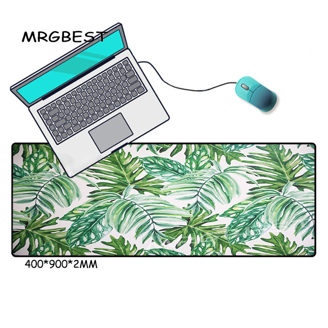 MRGBEST Banana Leaf Plant Large Gaming Mouse Pad Cs Lock-edge Keyboard Desk Non-slip Rubber for Notebook Laptop Gamer Mat XXL