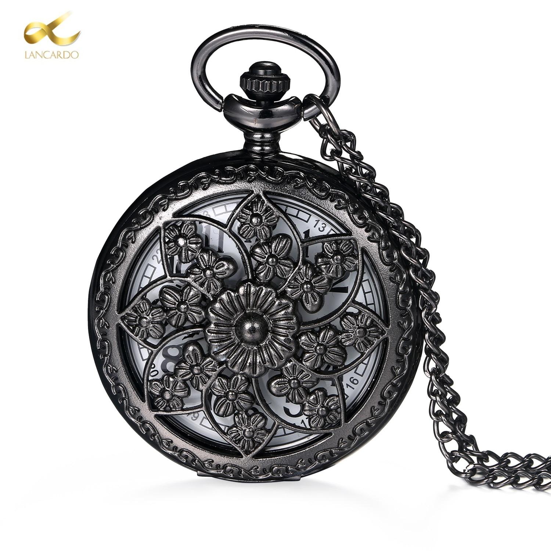 Lancardo Vintage Bronze Steampunk Pocket Watch Hollow Carving Quartz Necklace Pocket 82CM Chain Gift For Men Women Friend