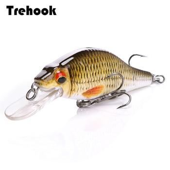 TREHOOK 4g/11g/22g negro Minnow Wobblers Pike pesca cebo Artificial duro Swimbait Mini Crankbaits Fsihing abordar señuelos