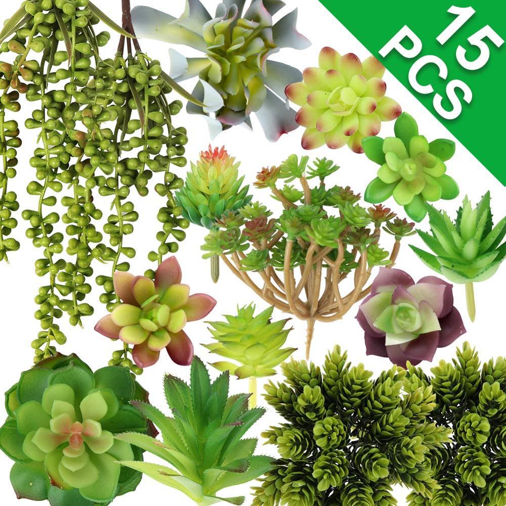 15pcs Artificial Plants Pot Simulation Succulents Bonsai Fake Green Succulents Plants Artificial Flowers Garden Decoration(China)