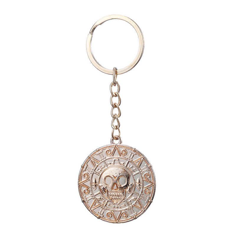 Mode-sieraden Pirates of The Caribbean Ketting Jack Sparrow Aztec Munt Schedel Sleutelhanger Voor Mannen Vrouwen Geschenken