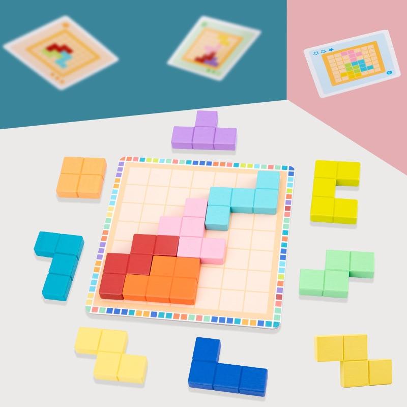 Логическое мышление для детей, игра головоломка teрис, деревянная игрушка, обучающая головоломка для раннего развития, детская настольная игра, подарки Пазлы      АлиЭкспресс
