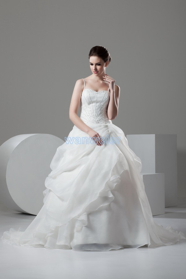 Vestido De Noiva 2015 New Hot Design Custom Sweetheart Beading Organza Ball Gown Pleat White Wedding Dress Bridal Gowns