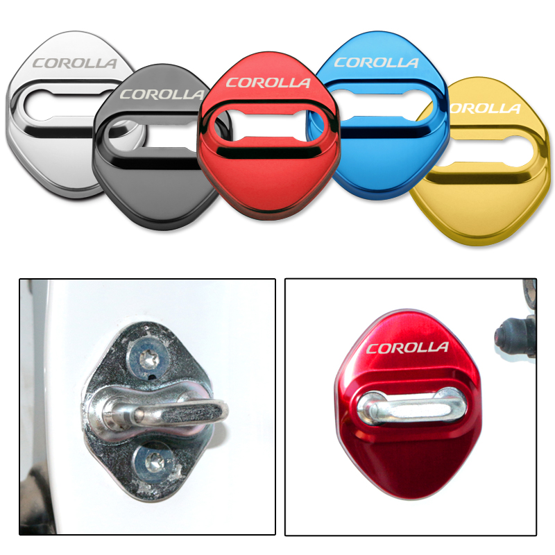 4pcs Car Stainless Steel Prevent Rust Door Lock Cover Auto Emblems Case For Toyota Corolla Accessories