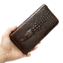 men's wallet clutch male genuine leather purse for men vintage men's clutch bag crocodile pattern card holder money bag