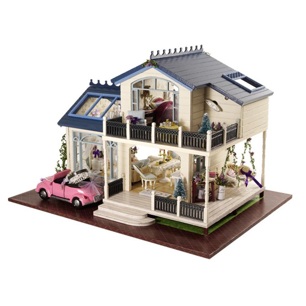 Hobbylane Children Kids DIY Wooden House Toys Miniature Dollhouse Birthday Gift