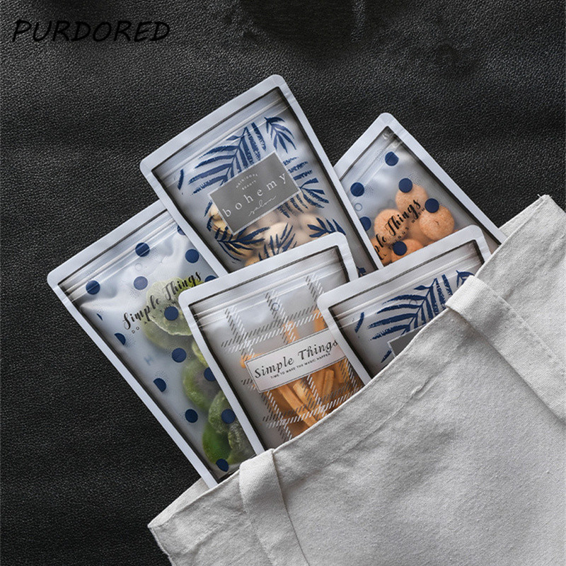 PURDORED 4 Pcs/set Clear Food Sealed Bag Portable Food Snack Packing Organizer Multifunction Seasoning Bag Travel Accessories