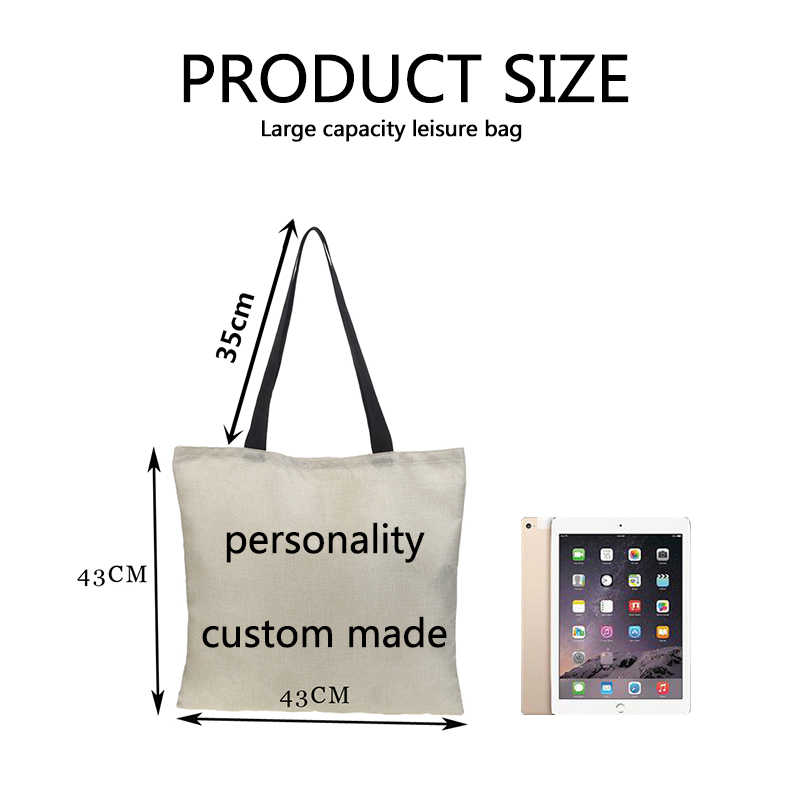 Customer Shopping Bag Tote Reusable Burlap Bag Double-sided Butterfly print Pattern Butterfly Shoulder Bag Casual Cartoon