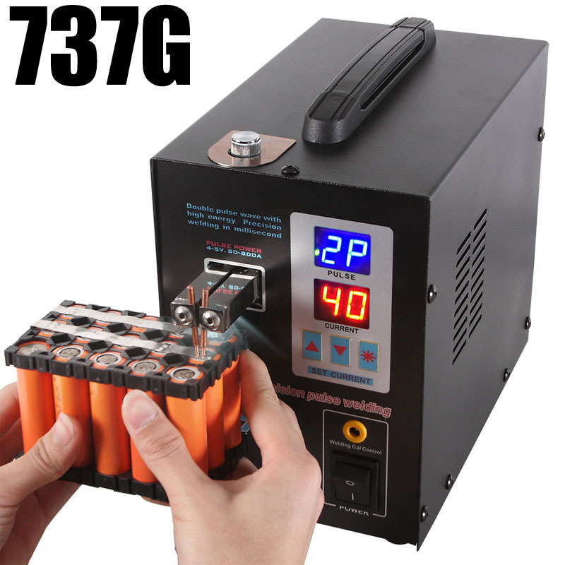 SUNKKO 737G Spot Welder LED Dual Digital Display With Welding Needles Double Pulse Welding Machine For 18650 Lithium Battery