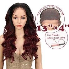 魔法の髪オンブル女性の赤かつら合成レースフロントかつら 24 インチロングルーズウェービ 150% 密度耐熱繊維