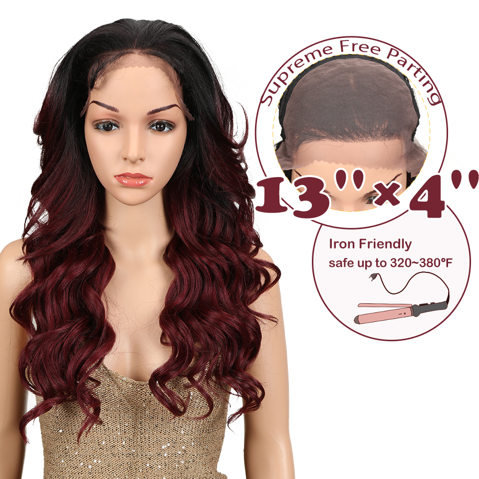 Magic Hair Ombre Wigs For Women Red Wigs Synthetic Lace Front Wigs 24Inch Long Loose Wavy Hair 150% Density Heat Resistant Fiber