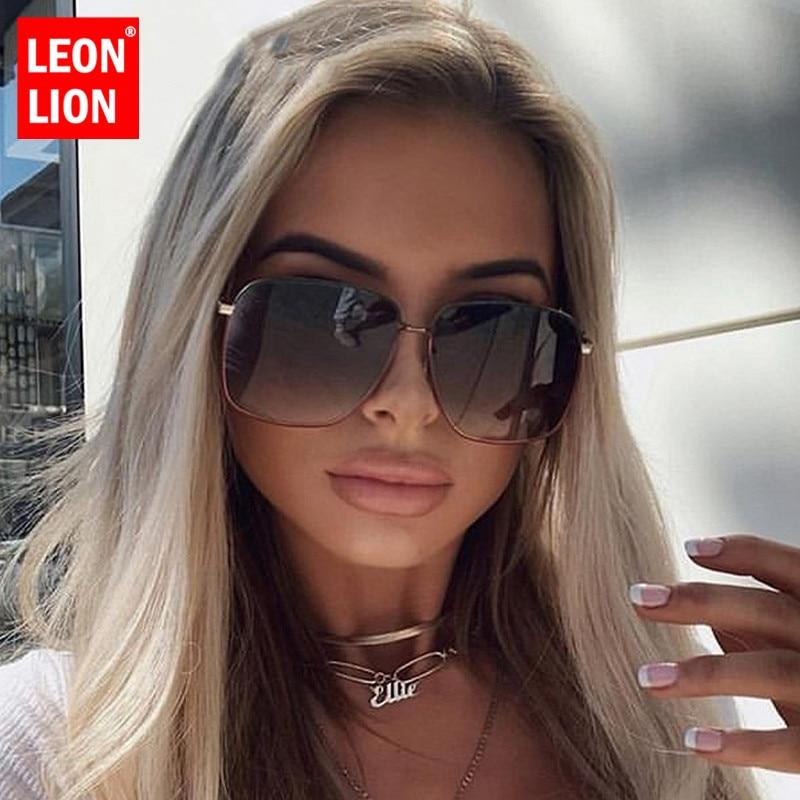 LeonLion 2019 Fashion Metal Women Sunglasses Mirror Classic Large Frame Retro Street Beat Glasses Travel Oculos De Sol UV400