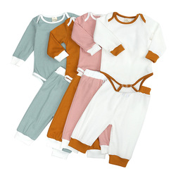 Детский комбинезон для новорожденных, одежда для малышей, весенне-осенний однотонный комплект в рубчик для девочек и мальчиков, боди с длин...