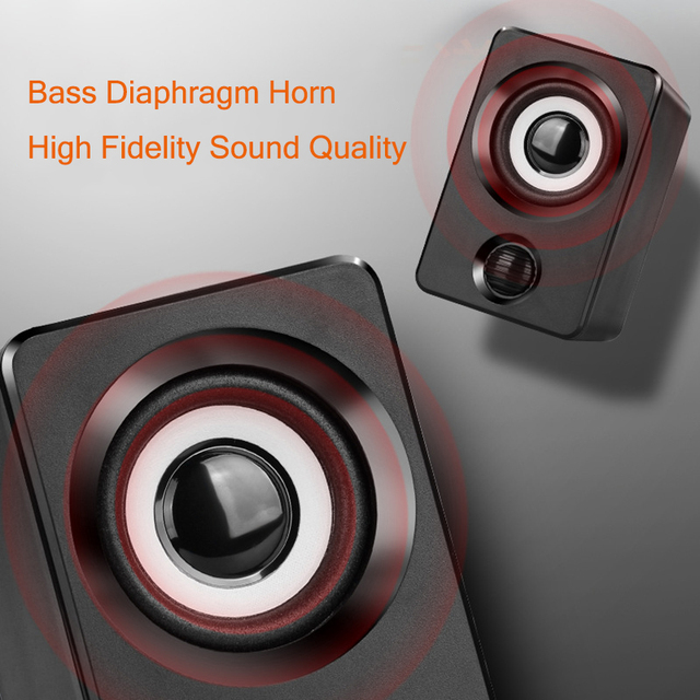 AUX Mini Computer Speakers USB Powered 1.3m Wired 1 Pair Bass Stereo Speakers for Laptop Desktop Phone 3W*2 Powerful Loudspeaker 2