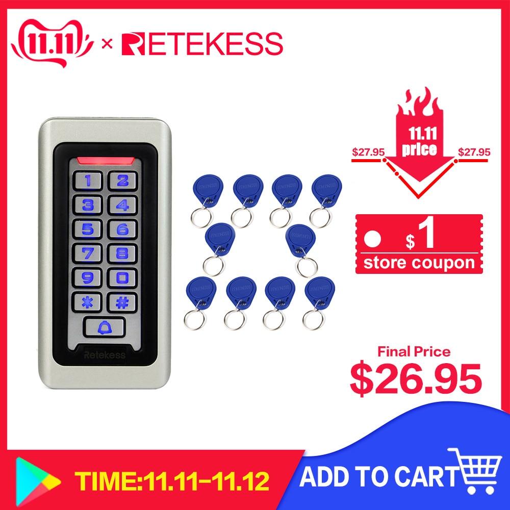 RETEKESS Access Control Keypad System RFID Door 125KHz 1 Access Control Keypad + 10 RFID Keyfobs Cards With 2000 Users F9501D