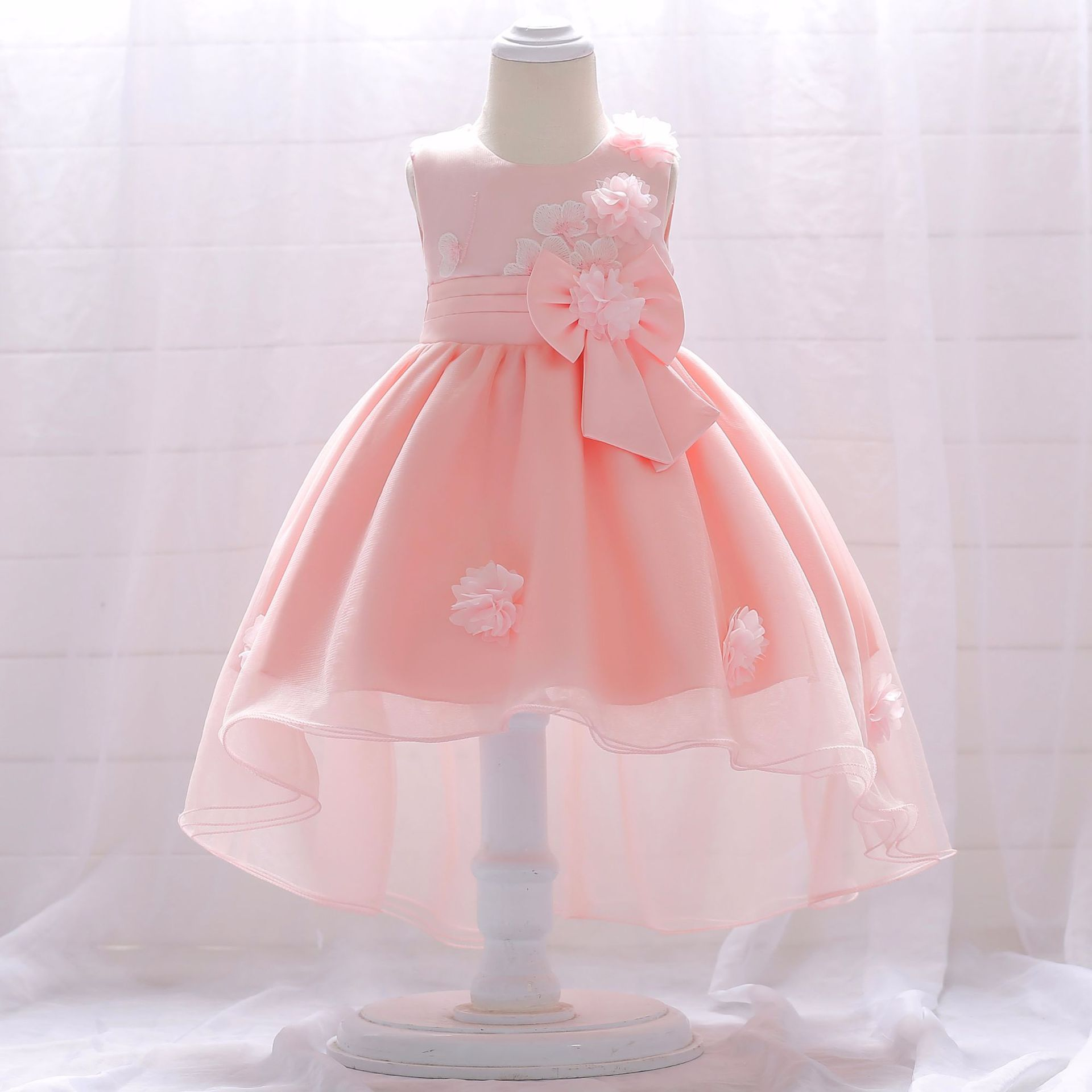 2019 New Style Baby A Year Of Age Wash Formal Dress Infant BABY'S FIRST Month Birthday Gift Tailing Flower Puffy Princess Dress