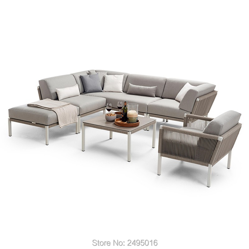 6-person Outdoor Furniture Aluminum  Sofa Leisure Set With Coffee Table And Cushions For Garden Waterproof And Outdoor