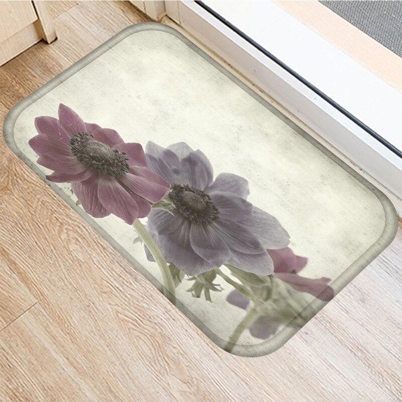 Image 3 - Leaf Flower Pattern Non slip Bedroom Decoration Soft Carpet  Kitchen Floor Living Room Floor Mat Bathroom Non slip Mat 40x60cm   .Rug