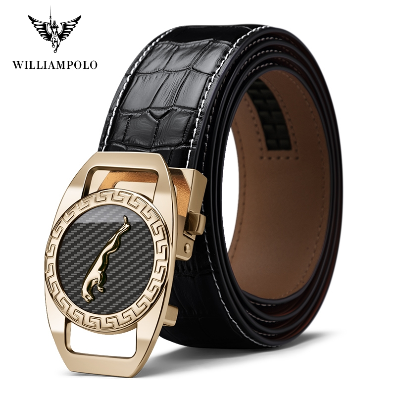 Williampolo Famous Brand Belt Men Top Quality Genuine Luxury Leather Belts For Men Strap Male Metal Automatic Buckle PL18400P