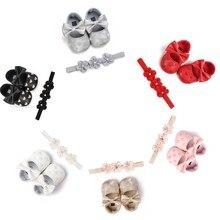 Headband-Set Shoes Newborn Baby-Girls Infant 2pcs Heart Baptism Cute