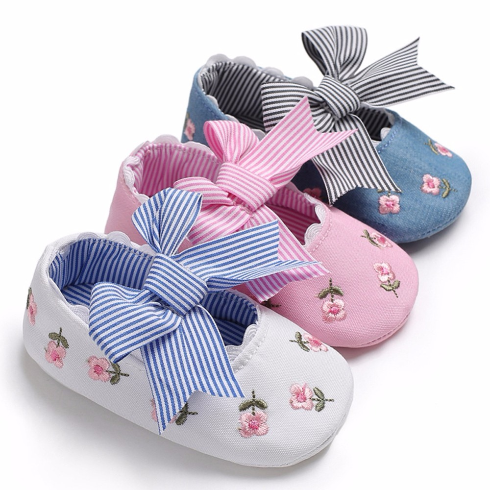 Spring Summer New Style Embroidered Princess Shoes For Toddler Baby Girls Big Bow Soft Sole Newborn Baby Moccasins Shoes