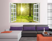 Green Forest Scenery 3D Wall Sticker Print Window Decals Large Stickers Art Poster Room Decoration Bedroom Decor