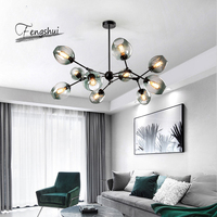 북유럽 로프트 유리 LED 샹들리에 현대 펜 던 트 램프 거실 침실 매달려 램프 공 부엌 Luminaire 광택|샹들리에|   -