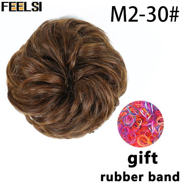 FEELSI синтетические гибкие волосы булочки кудрявые резинки шиньон эластичные грязные волнистые резинки для наращивания конского хвоста для женщин - Цвет: T1B/33