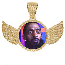 купить Sweey Wholesale Customize Men Iced Out Photo Necklace with Angel  Wings Personalized Hip Hop Necklace Stunning Birthstones Gift дешево