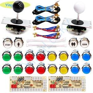 Image 2 - Arcade joysticks 2 Players DIY Kit Zero Delay USB Encoder sanwa Joystick 33mm LED Button PC Mame Raspberry pi 1 2