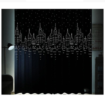 Modern Living Room Hollow Star Landing Simple Bedroom Castle Curtain Fabric Solid Color Full Shading