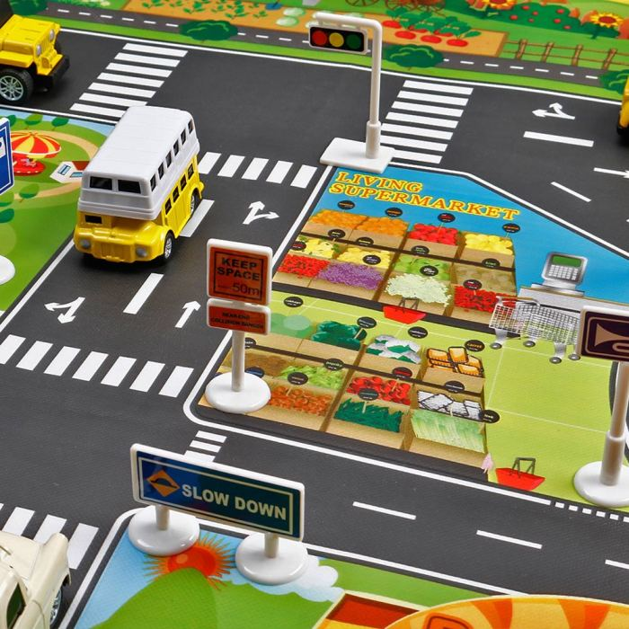 H539f5625b0e04b649e1e114adcf5e935v Hot Selling 130*100cm Children Play Mats House Traffic Road Signs Car Model Parking City Scene Map