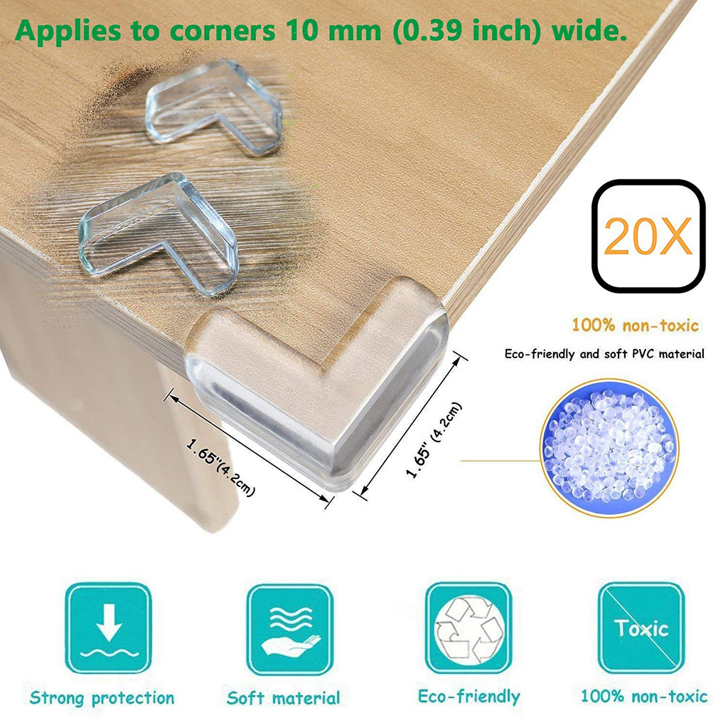 Baby Home Safety Corner Bumpers 4 Ball Shape Clear Furniture Corner Guards Locks