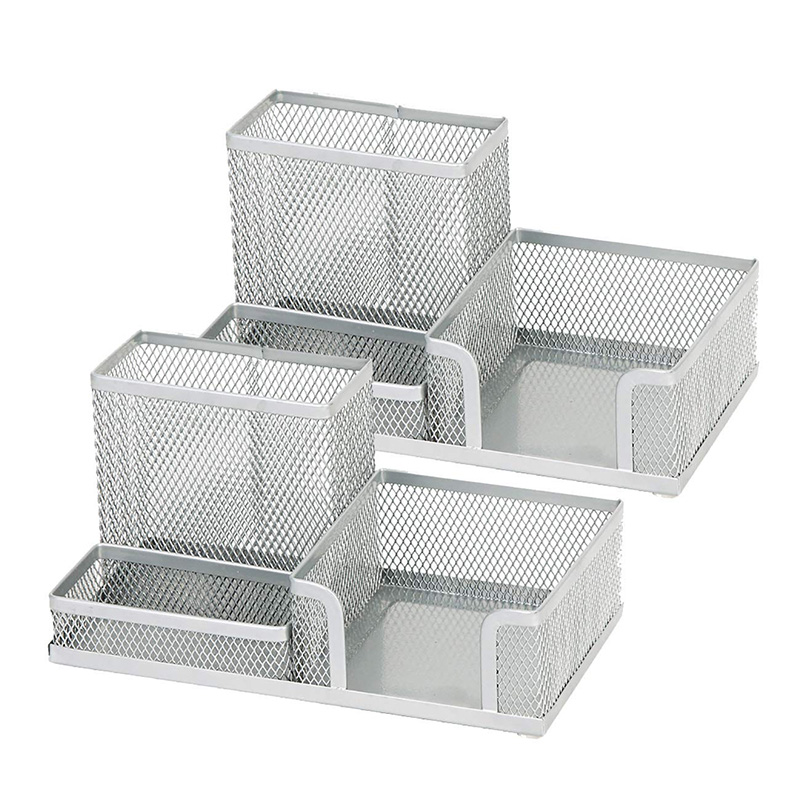 Metal Mesh Desk Supply Organizer Office Supply Caddy Pen Holder Pencil Cup Desktop Storage Organizer (2)