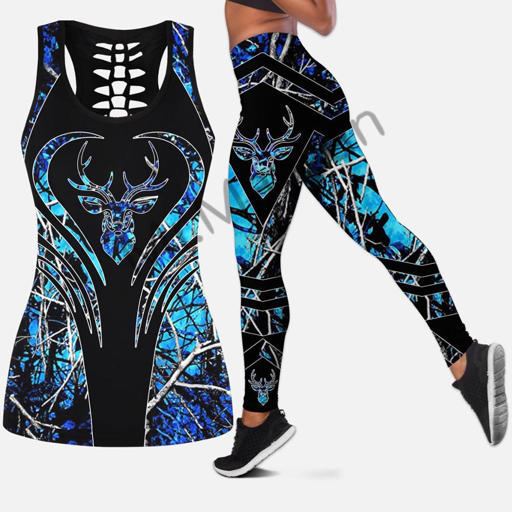 Tanktop e Leggings Peças para as Mulheres Duas Impressão Hipster Moda Sexy Colete Azul Veado Caça Roupas Femininas Oco 3d