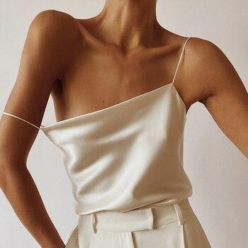 OOTN Elegant Spring Satin Black Cami Top Women Beige Silk Spaghetti Strap Camis Ladies Solid Draped Sleeveless Summer Camisole 1