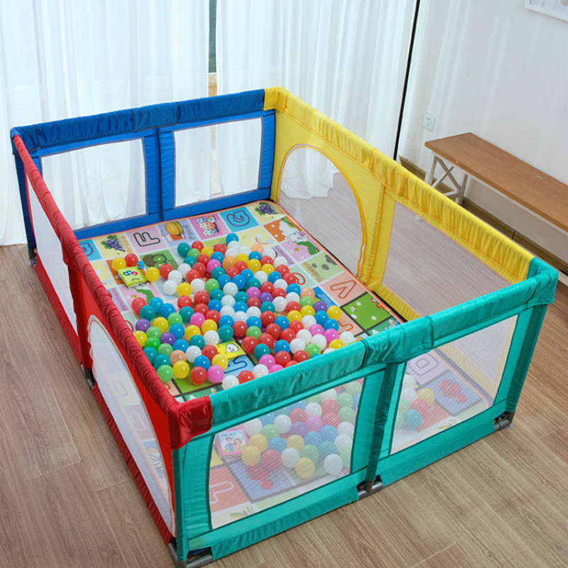Baby Playpen Fence Foldable Alloy Steel Pipe Toddler Indoor Safety Play Pool Child Protection Play Yard 0~5 Years Old