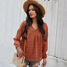 Chiffon Blouse Women Tops Shirt V-Neck Full-Sleeve Solid-Color Fashion New Casual