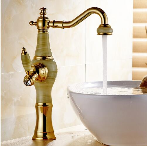 Vidric Basin Faucet Gold Crane Brass Jade Body 360 Degree Swivel Bathroom Basin Faucet Deck Mount Counter top Water Mixer Tap