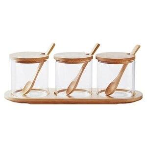Стеклянная приправа банка коробка сахарная чаша ароматизатор банка многофункциональная приправа коробка с бамбуковой ложкой и полкой