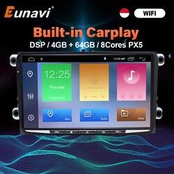 Автомагнитола Eunavi, 2 Din, Android, GPS, для VW jetta polo tiguan passat b6 golf 5 touran skoda octavia