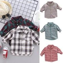 Cotton Boy Shirts Baby Boys Long Sleeve Plaid Print Shirts Kids Tops Tees Shirts Casual Blouse